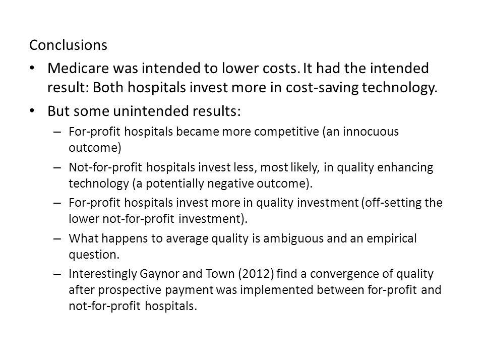 Conclusions Medicare was intended to lower costs.