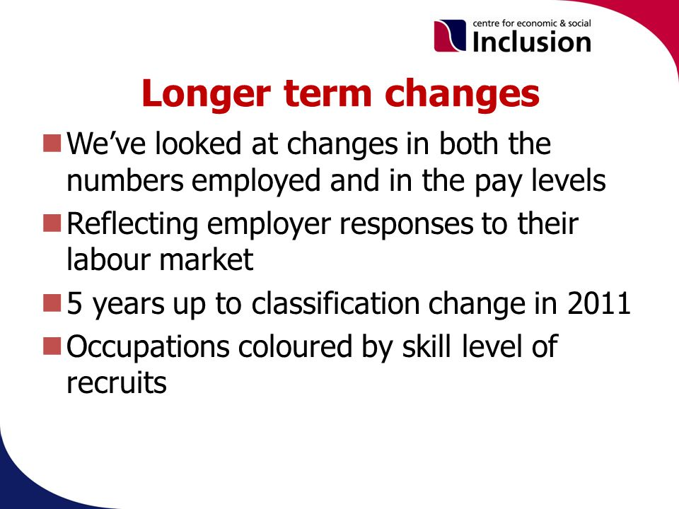 Longer term changes Weve looked at changes in both the numbers employed and in the pay levels Reflecting employer responses to their labour market 5 years up to classification change in 2011 Occupations coloured by skill level of recruits