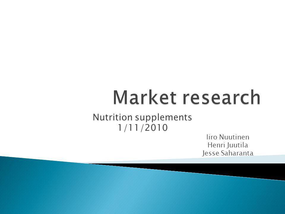 Nutrition supplements 1/11/2010 Iiro Nuutinen Henri Juutila Jesse Saharanta