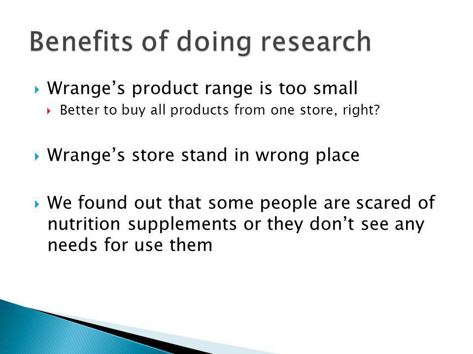Wranges product range is too small Better to buy all products from one store, right? Wranges store stand in wrong place We found out that some people