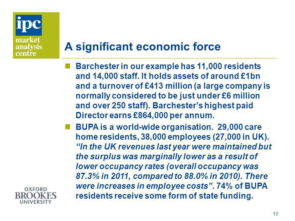 A significant economic force Barchester in our example has 11,000 residents and 14,000 staff. It holds assets of around £1bn and a turnover of £413 mi