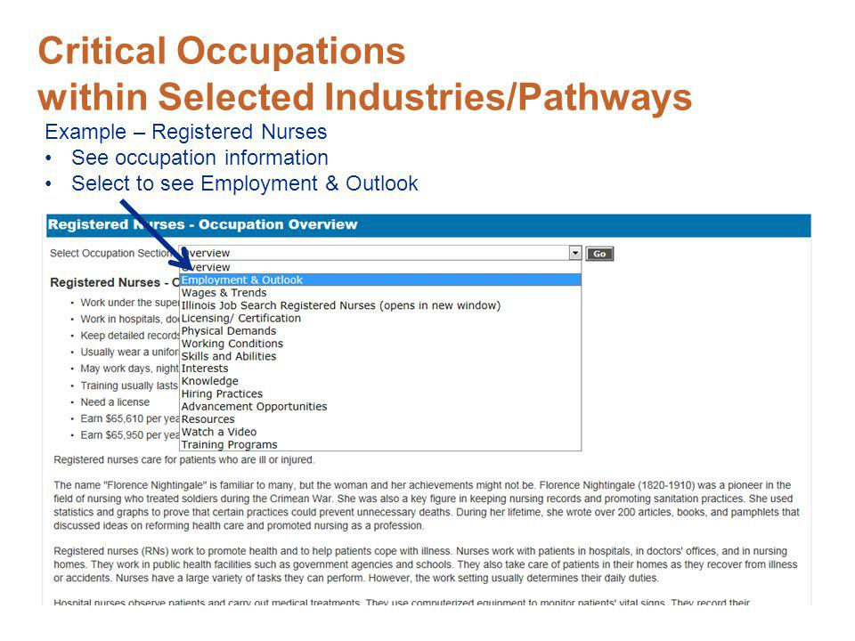 Critical Occupations within Selected Industries/Pathways Example – Registered Nurses See occupation information Select to see Employment & Outlook