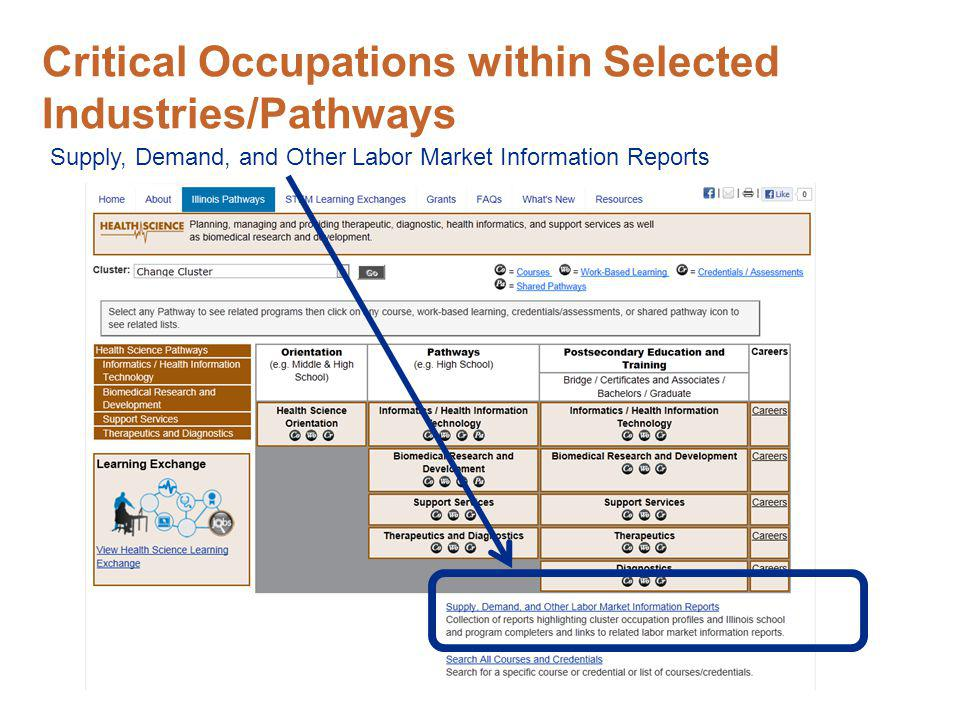 Critical Occupations within Selected Industries/Pathways Supply, Demand, and Other Labor Market Information Reports