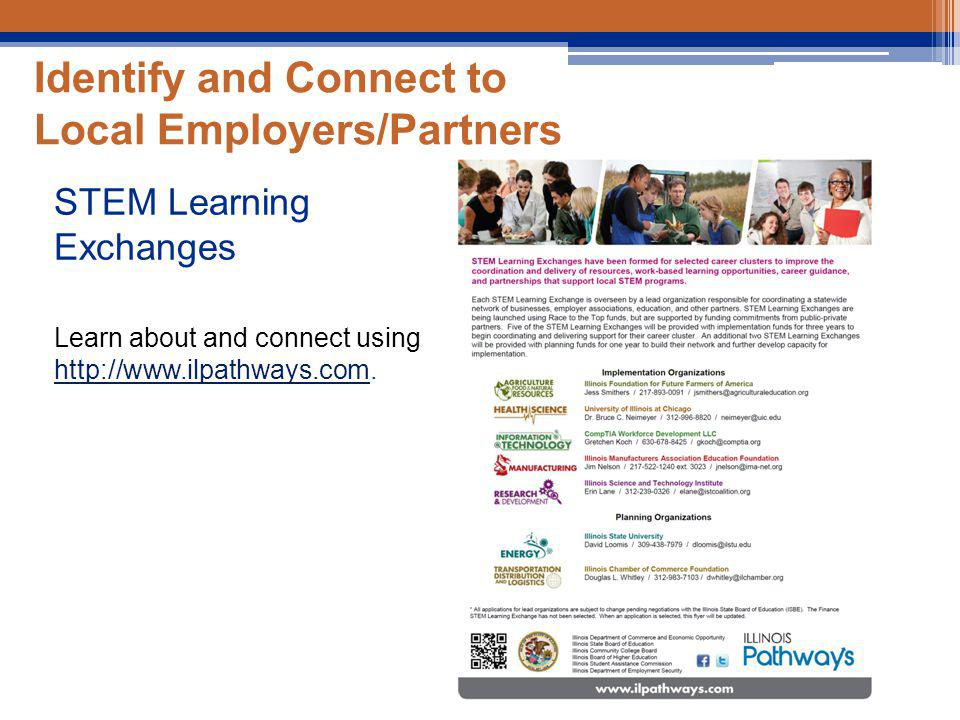 Identify and Connect to Local Employers/Partners STEM Learning Exchanges Learn about and connect using http://www.ilpathways.com.