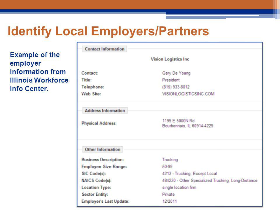 Identify Local Employers/Partners Example of the employer information from Illinois Workforce Info Center.