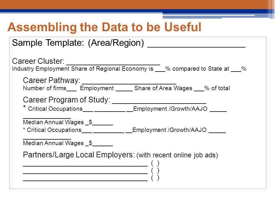 Assembling the Data to be Useful Sample Template: (Area/Region) ___________________ Career Cluster: ______________________ Industry Employment Share of Regional Economy is ___% compared to State at ___% Career Pathway: ______________________ Number of firms___ Employment _____ Share of Area Wages ___% of total Career Program of Study: ______________________ * Critical Occupations___ _________ __Employment /Growth/AAJO _____ ______________ Median Annual Wages _$______ * Critical Occupations___ _________ __Employment /Growth/AAJO _____ ______________ Median Annual Wages _$______ Partners/Large Local Employers: (with recent online job ads) _________________________________ ( ) _________________________________ ( ) _________________________________ ( )