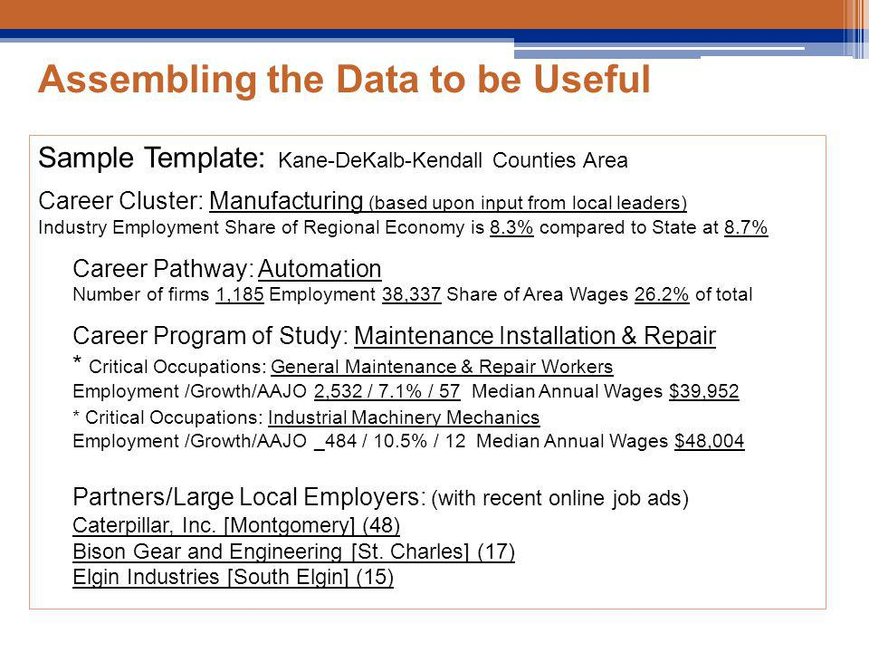 Assembling the Data to be Useful Sample Template: Kane-DeKalb-Kendall Counties Area Career Cluster: Manufacturing (based upon input from local leaders) Industry Employment Share of Regional Economy is 8.3% compared to State at 8.7% Career Pathway: Automation Number of firms 1,185 Employment 38,337 Share of Area Wages 26.2% of total Career Program of Study: Maintenance Installation & Repair * Critical Occupations: General Maintenance & Repair Workers Employment /Growth/AAJO 2,532 / 7.1% / 57 Median Annual Wages $39,952 * Critical Occupations: Industrial Machinery Mechanics Employment /Growth/AAJO _484 / 10.5% / 12 Median Annual Wages $48,004 Partners/Large Local Employers: (with recent online job ads) Caterpillar, Inc.
