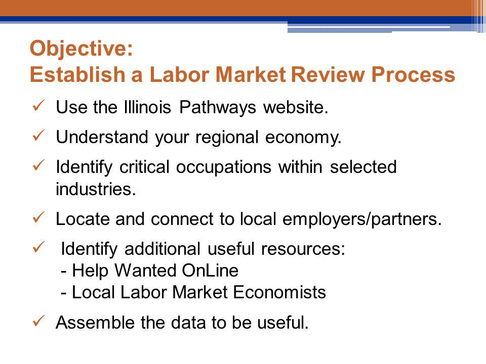 Objective: Establish a Labor Market Review Process Use the Illinois Pathways website.