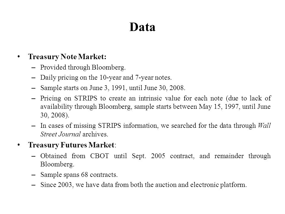Data Treasury Note Market: – Provided through Bloomberg.