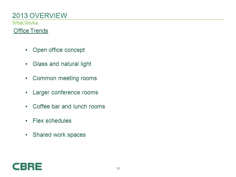 OVERVIEW What Works Office Trends Open office concept Glass and natural light Common meeting rooms Larger conference rooms Coffee bar and lunch rooms Flex schedules Shared work spaces