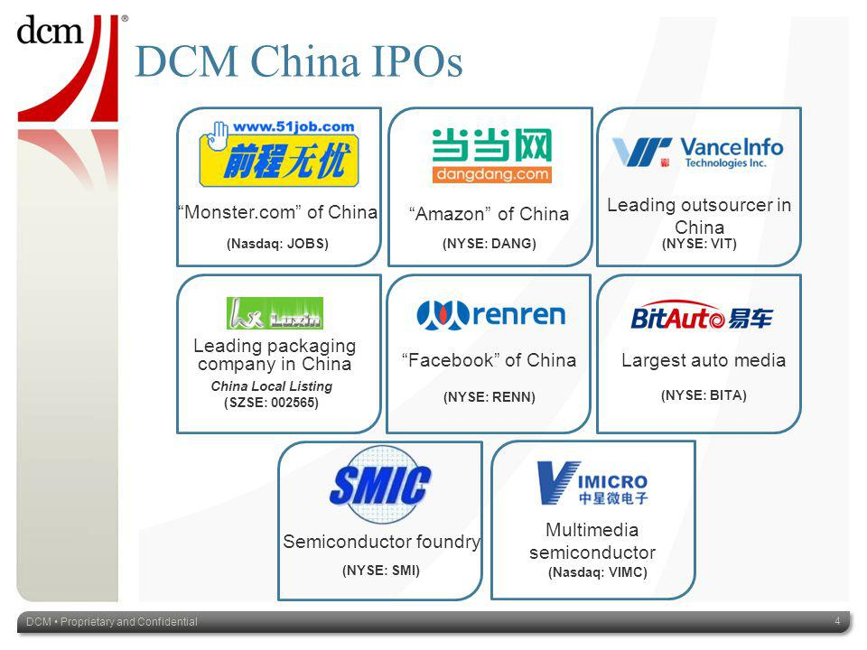DCM China IPOs DCM Proprietary and Confidential 4 Amazon of China Largest auto media (NYSE: BITA) (NYSE: DANG) Facebook of China (NYSE: RENN) Leading packaging company in China China Local Listing (SZSE: 002565) Monster.com of China (Nasdaq: JOBS) Leading outsourcer in China (NYSE: VIT) Multimedia semiconductor (Nasdaq: VIMC) Semiconductor foundry (NYSE: SMI)