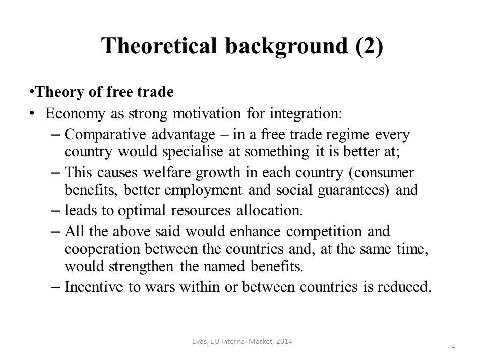 Evas, EU Internal Market, 2014 5 Theoretical background (3) More specific for the EU (see Spaak Report of 1956 as well as Preambles of the Founding Treaties): – Welfare benefits result from abolition of territorial barriers for economic activity (=> customs union).