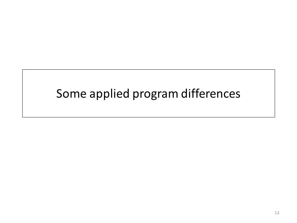 Some applied program differences 14