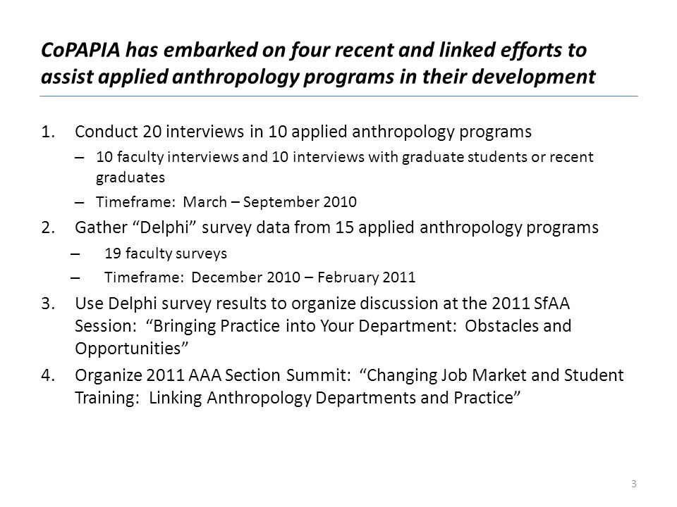 1.Conduct 20 interviews in 10 applied anthropology programs – 10 faculty interviews and 10 interviews with graduate students or recent graduates – Tim