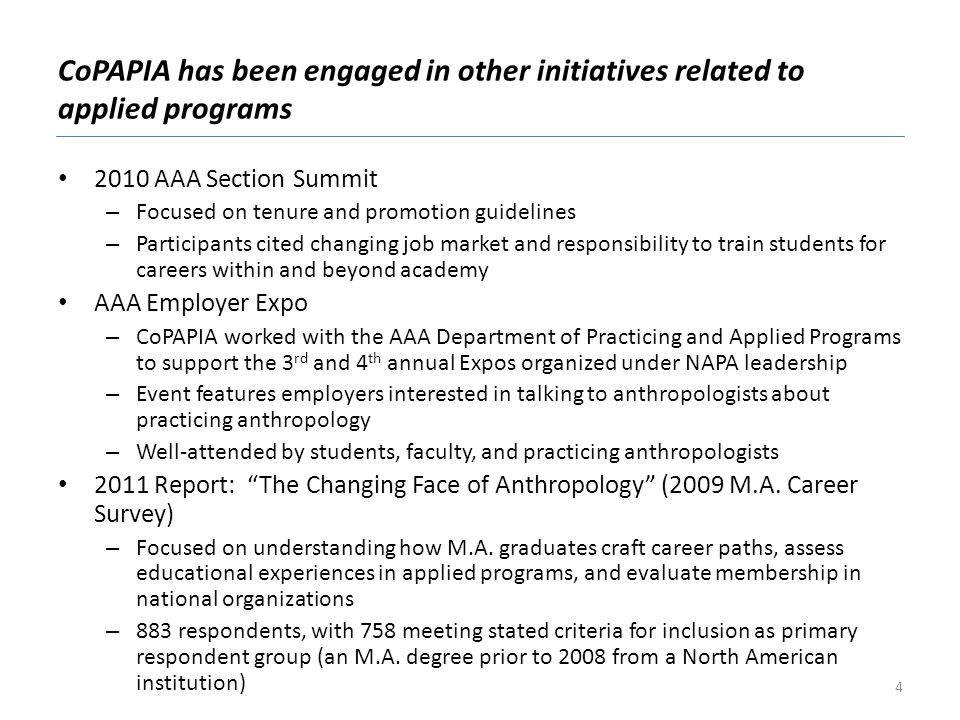 CoPAPIA has been engaged in other initiatives related to applied programs 2010 AAA Section Summit – Focused on tenure and promotion guidelines – Parti