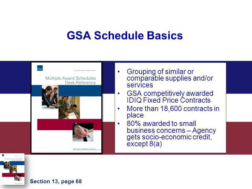 GSA Schedule Basics Grouping of similar or comparable supplies and/or services GSA competitively awarded IDIQ Fixed Price Contracts More than 18,600 c
