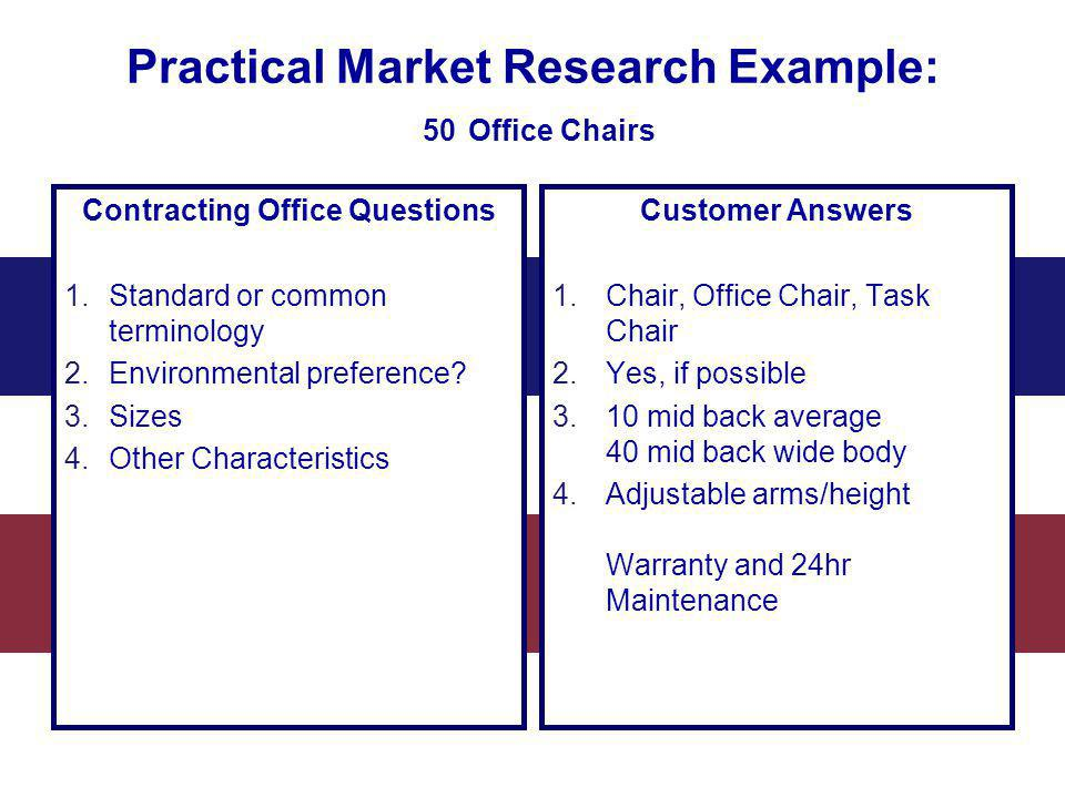 Practical Market Research Example: 50 Office Chairs Contracting Office Questions 1.Standard or common terminology 2.Environmental preference? 3.Sizes
