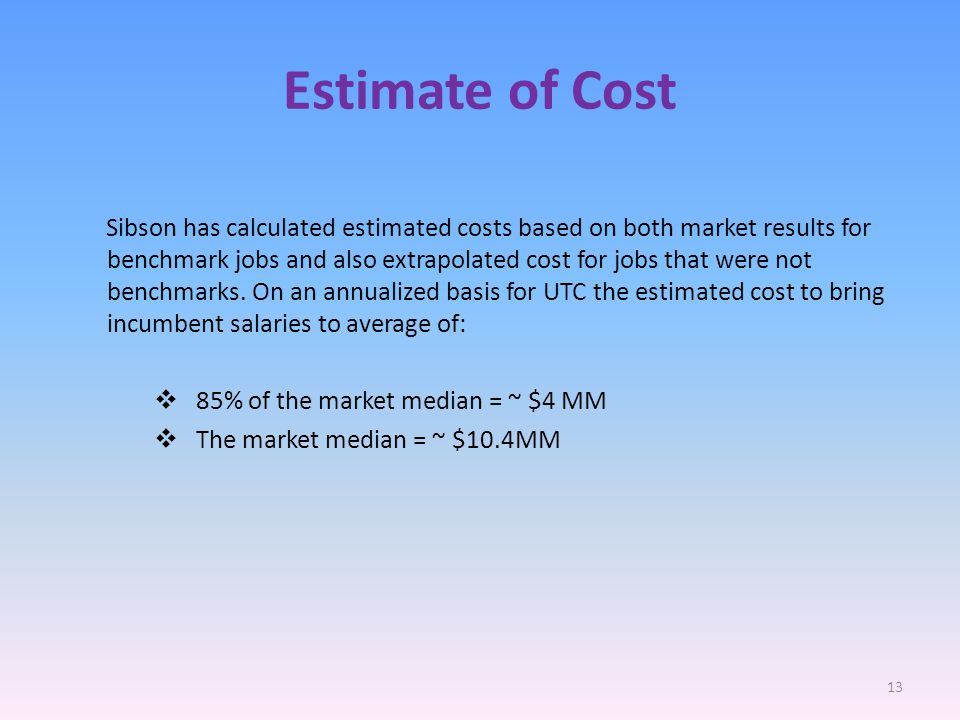 Estimate of Cost Sibson has calculated estimated costs based on both market results for benchmark jobs and also extrapolated cost for jobs that were not benchmarks.