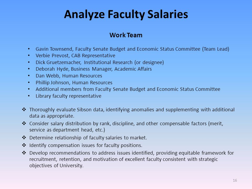 Analyze Faculty Salaries Work Team Gavin Townsend, Faculty Senate Budget and Economic Status Committee (Team Lead) Verbie Prevost, CAB Representative Dick Gruetzemacher, Institutional Research (or designee) Deborah Hyde, Business Manager, Academic Affairs Dan Webb, Human Resources Phillip Johnson, Human Resources Additional members from Faculty Senate Budget and Economic Status Committee Library faculty representative Thoroughly evaluate Sibson data, identifying anomalies and supplementing with additional data as appropriate.