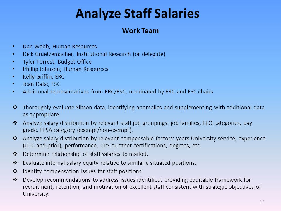 Analyze Staff Salaries Work Team Dan Webb, Human Resources Dick Gruetzemacher, Institutional Research (or delegate) Tyler Forrest, Budget Office Phillip Johnson, Human Resources Kelly Griffin, ERC Jean Dake, ESC Additional representatives from ERC/ESC, nominated by ERC and ESC chairs Thoroughly evaluate Sibson data, identifying anomalies and supplementing with additional data as appropriate.