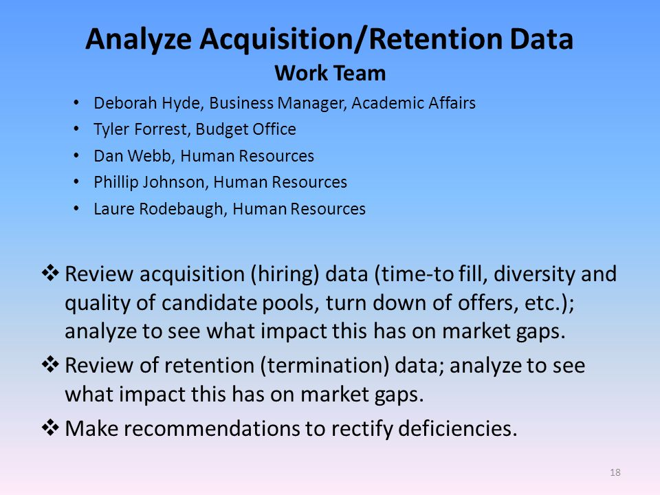 Analyze Acquisition/Retention Data Work Team Deborah Hyde, Business Manager, Academic Affairs Tyler Forrest, Budget Office Dan Webb, Human Resources Phillip Johnson, Human Resources Laure Rodebaugh, Human Resources Review acquisition (hiring) data (time-to fill, diversity and quality of candidate pools, turn down of offers, etc.); analyze to see what impact this has on market gaps.