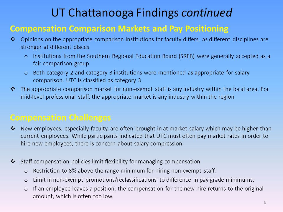 UT Chattanooga Findings continued Compensation Comparison Markets and Pay Positioning Opinions on the appropriate comparison institutions for faculty differs, as different disciplines are stronger at different places o Institutions from the Southern Regional Education Board (SREB) were generally accepted as a fair comparison group o Both category 2 and category 3 institutions were mentioned as appropriate for salary comparison.