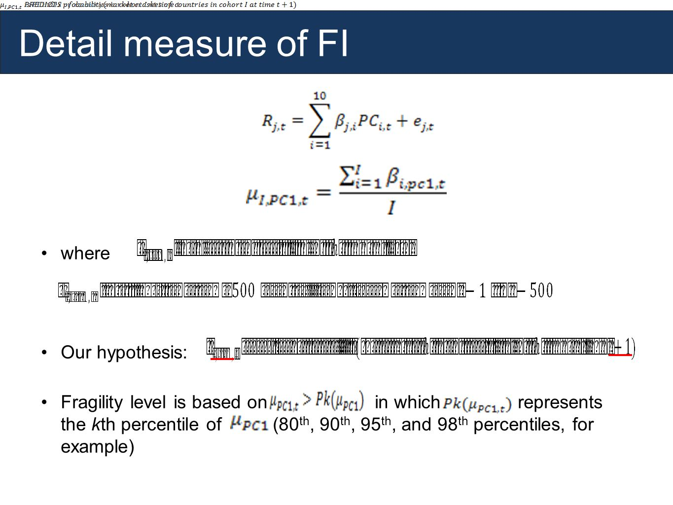 Detail measure of FI where Our hypothesis: Fragility level is based on in which represents the kth percentile of (80 th, 90 th, 95 th, and 98 th percentiles, for example)