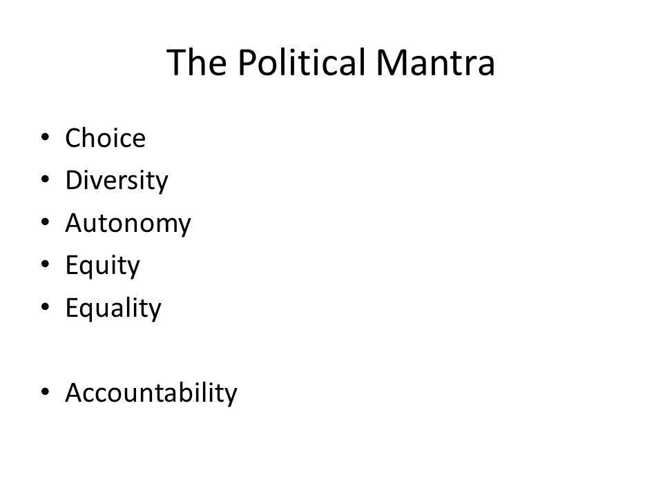 The Political Mantra Choice Diversity Autonomy Equity Equality Accountability