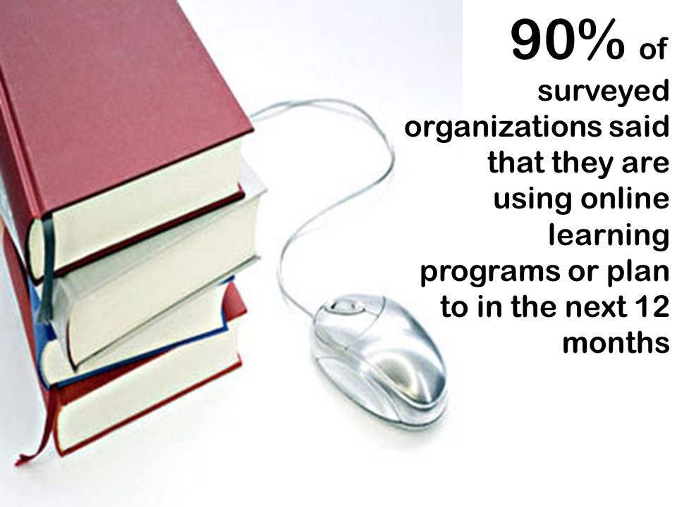90% of surveyed organizations said that they are using online learning programs or plan to in the next 12 months