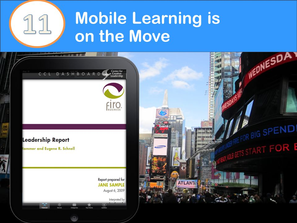 CCL DASHBOARD Mobile Learning is on the Move