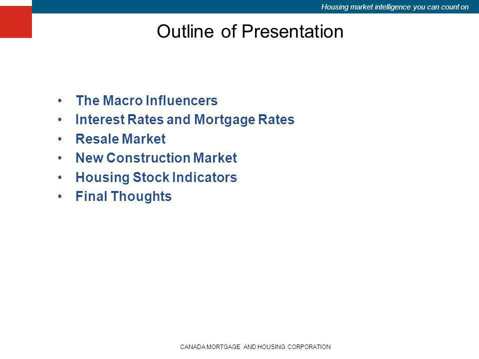 Housing market intelligence you can count on Outline of Presentation The Macro Influencers Interest Rates and Mortgage Rates Resale Market New Constru