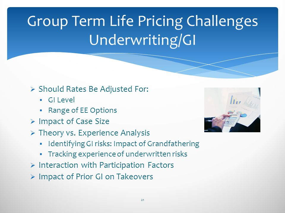 Should Rates Be Adjusted For: GI Level Range of EE Options Impact of Case Size Theory vs. Experience Analysis Identifying GI risks: Impact of Grandfat