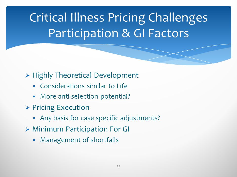 Highly Theoretical Development Considerations similar to Life More anti-selection potential? Pricing Execution Any basis for case specific adjustments