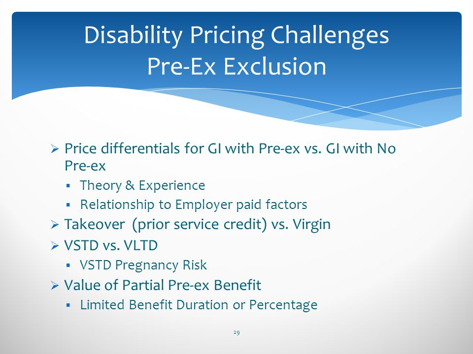 Price differentials for GI with Pre-ex vs. GI with No Pre-ex Theory & Experience Relationship to Employer paid factors Takeover (prior service credit)