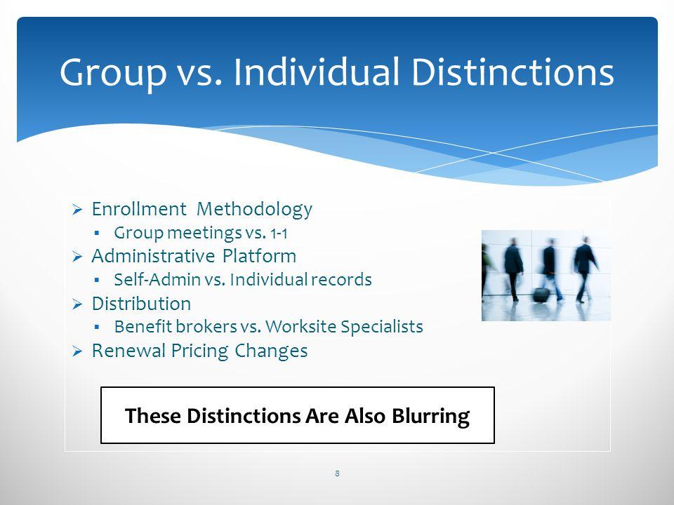 Enrollment Methodology Group meetings vs. 1-1 Administrative Platform Self-Admin vs. Individual records Distribution Benefit brokers vs. Worksite Spec