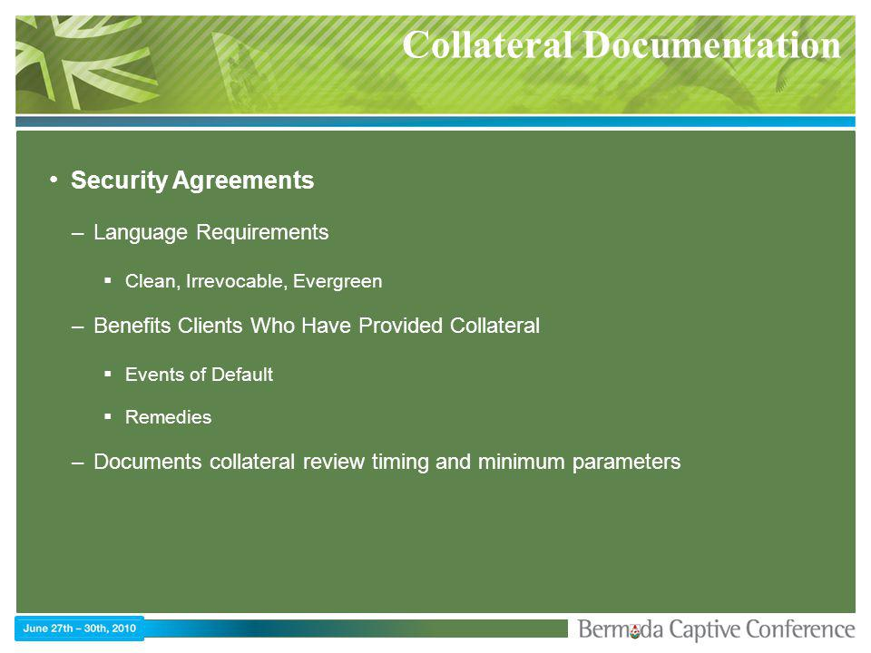 Collateral Documentation Security Agreements –Language Requirements Clean, Irrevocable, Evergreen –Benefits Clients Who Have Provided Collateral Events of Default Remedies –Documents collateral review timing and minimum parameters