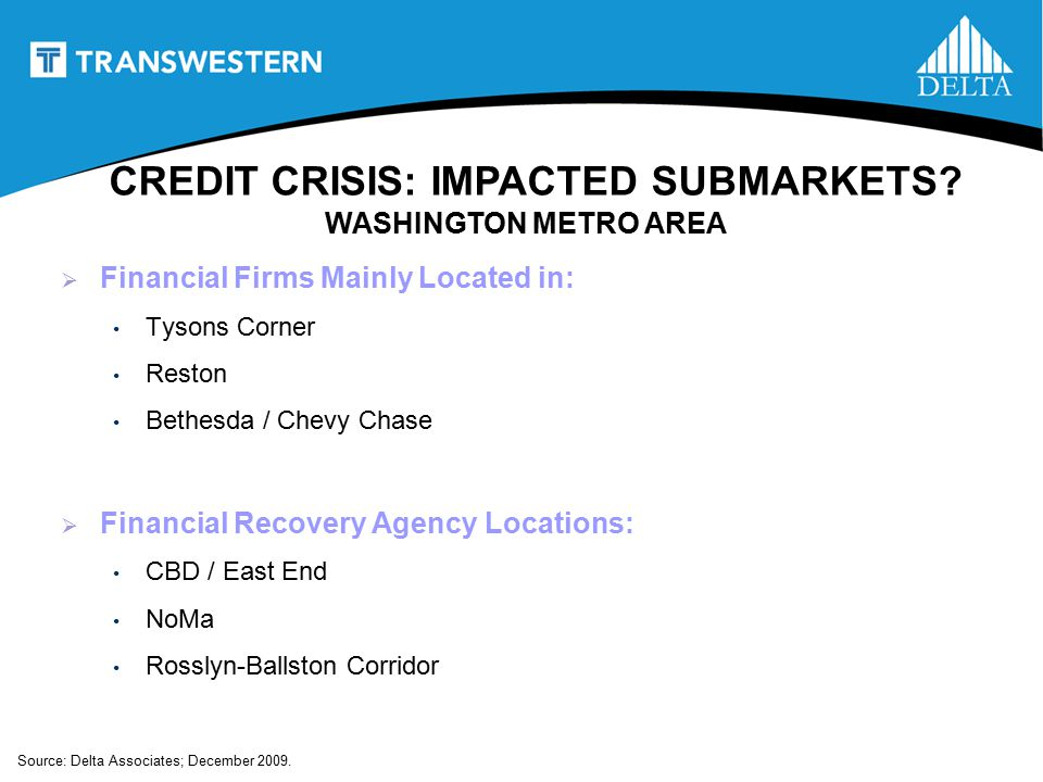 CREDIT CRISIS: IMPACTED SUBMARKETS.