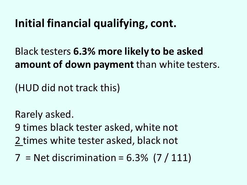 Initial financial qualifying, cont. Black testers 6.3% more likely to be asked amount of down payment than white testers. (HUD did not track this) Rar
