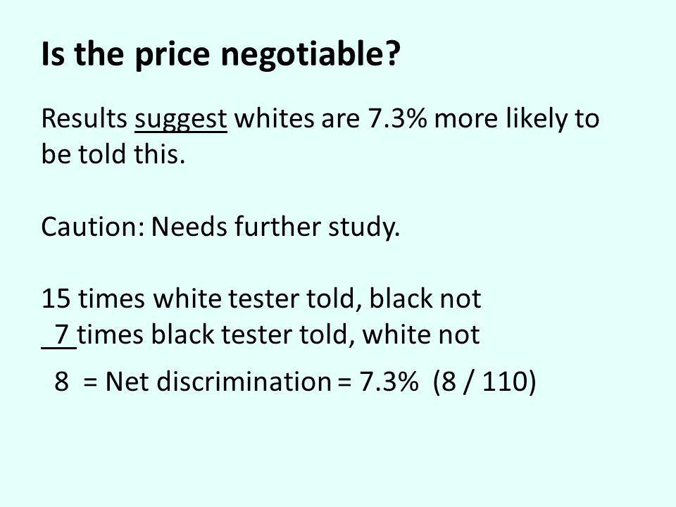 Is the price negotiable? Results suggest whites are 7.3% more likely to be told this. Caution: Needs further study. 15 times white tester told, black