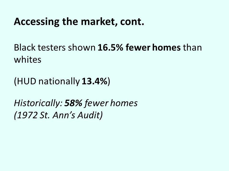 Accessing the market, cont. Black testers shown 16.5% fewer homes than whites (HUD nationally 13.4%) Historically: 58% fewer homes (1972 St. Anns Audi
