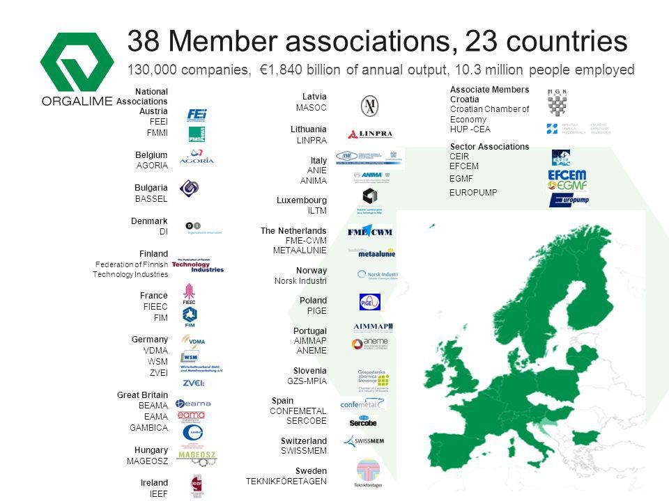 The European Engineering Industries Association Latvia MASOC Lithuania LINPRA Italy ANIE ANIMA Luxembourg ILTM The Netherlands FME-CWM METAALUNIE Norw