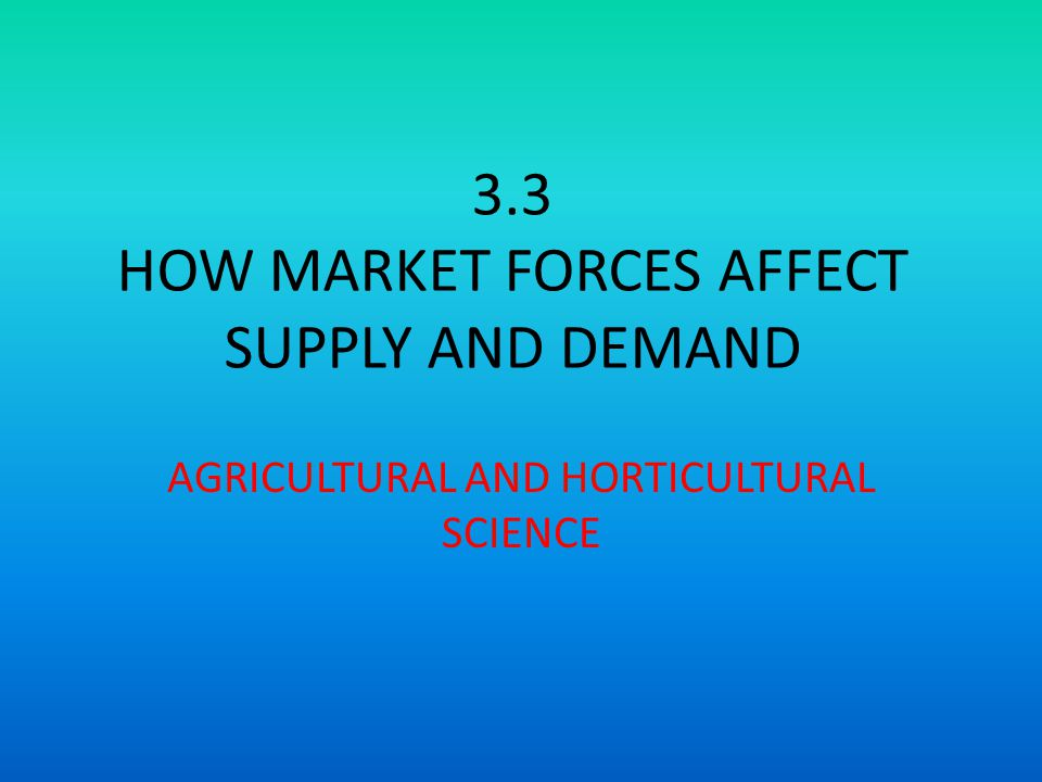 3.3 HOW MARKET FORCES AFFECT SUPPLY AND DEMAND AGRICULTURAL AND HORTICULTURAL SCIENCE