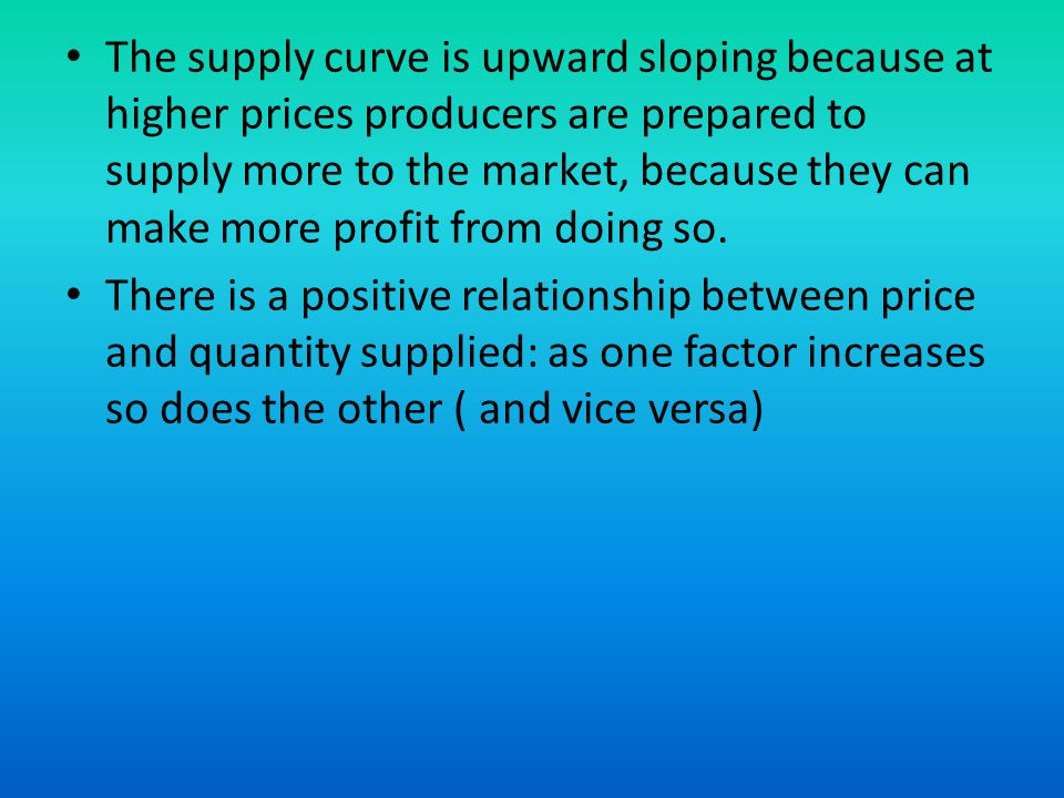 The supply curve is upward sloping because at higher prices producers are prepared to supply more to the market, because they can make more profit from doing so.