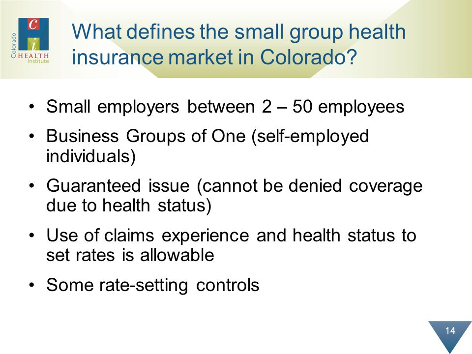 14 What defines the small group health insurance market in Colorado.