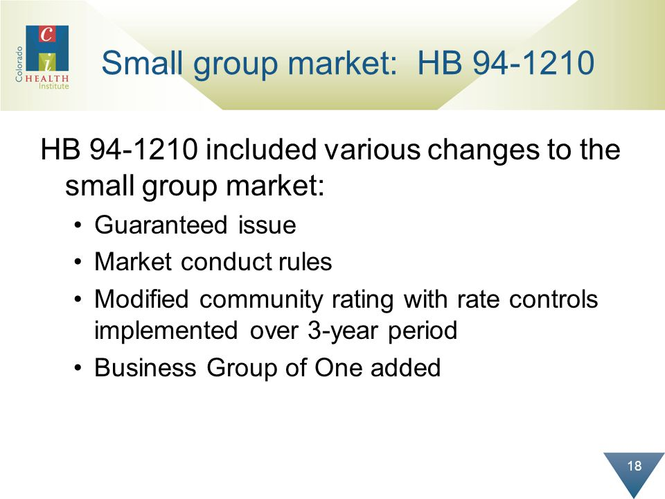 18 Small group market: HB 94-1210 HB 94-1210 included various changes to the small group market: Guaranteed issue Market conduct rules Modified commun