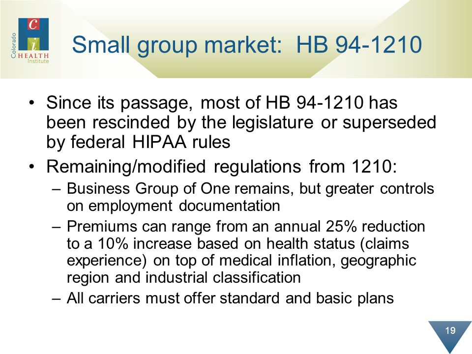 19 Small group market: HB 94-1210 Since its passage, most of HB 94-1210 has been rescinded by the legislature or superseded by federal HIPAA rules Rem