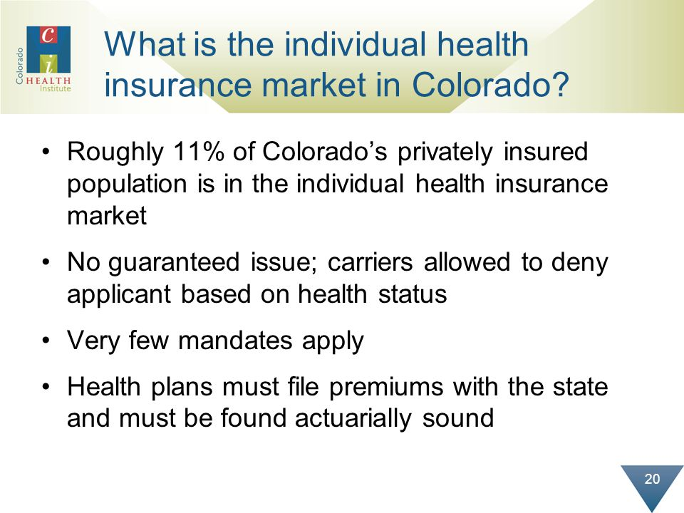 20 What is the individual health insurance market in Colorado.