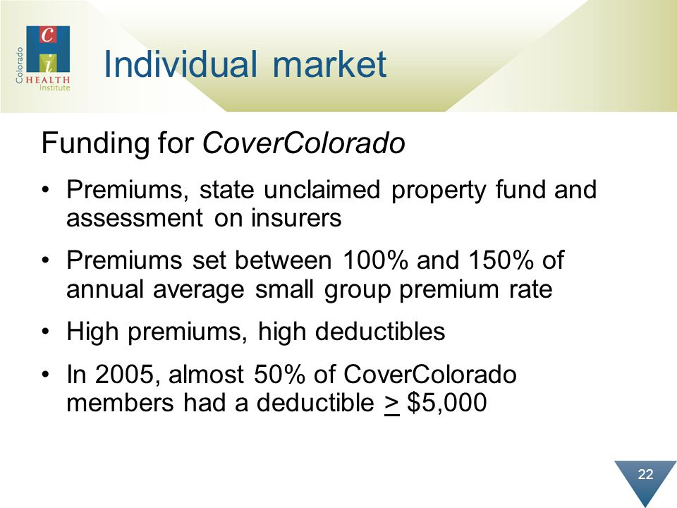 22 Individual market Funding for CoverColorado Premiums, state unclaimed property fund and assessment on insurers Premiums set between 100% and 150% o