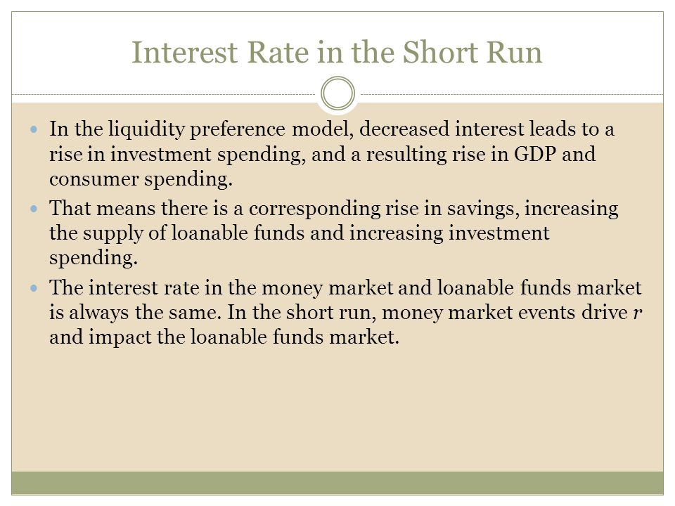 Interest Rate in the Short Run In the liquidity preference model, decreased interest leads to a rise in investment spending, and a resulting rise in G