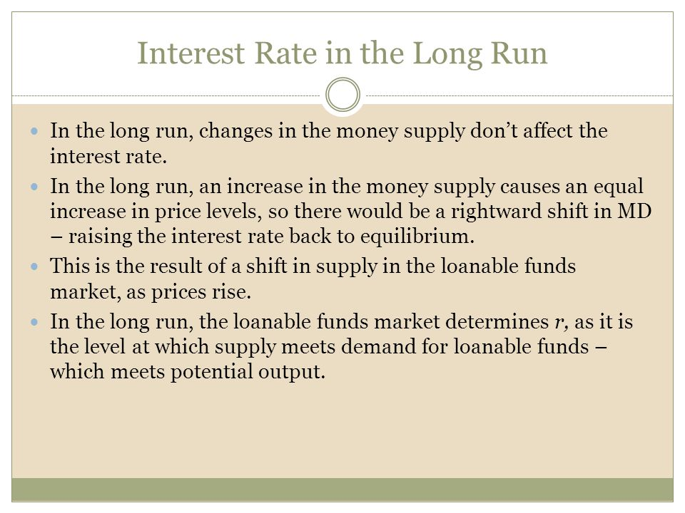 Interest Rate in the Long Run In the long run, changes in the money supply dont affect the interest rate. In the long run, an increase in the money su